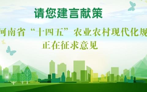 """关于公开征集《河南省""""十四五""""农业农村现代化规划》编制意见建议的公告"""